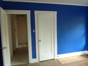Painted white door trim