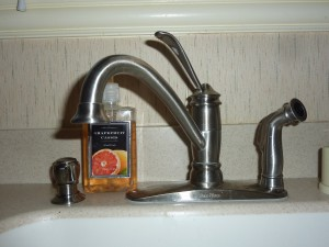 Brushed nickel kitchen faucet
